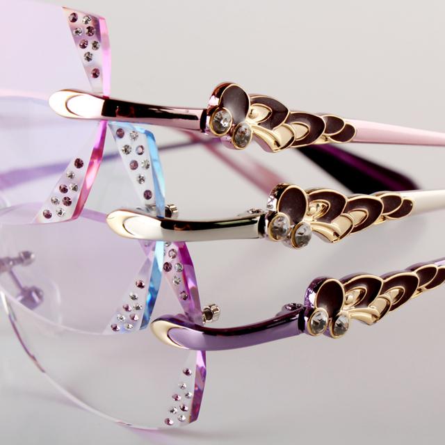 Feminino modelos de corte de diamante óculos sem aro óculos de leitura prescrição personalizada ultraleve lentes acabados 136