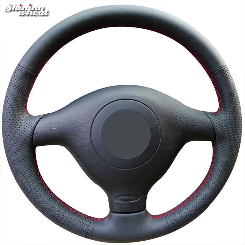 Black Genuine Leather Car Steering Wheel Cover for Volkswagen VW Golf 4 Passat B5 1996-2003 Seat Leon 1999-2004 Polo 1999-2002 коммутатор 1998 2004 volkswagen passat b5 v0005 v0060