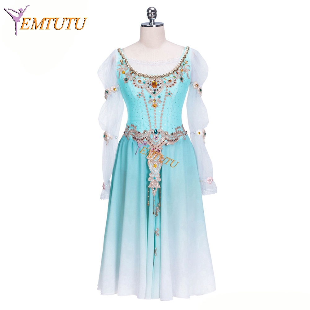 Ombre Blue Adult Girls Professional Ballet Long Dress Women Ballet Stage Costume Long Sleeves Performance Ballet
