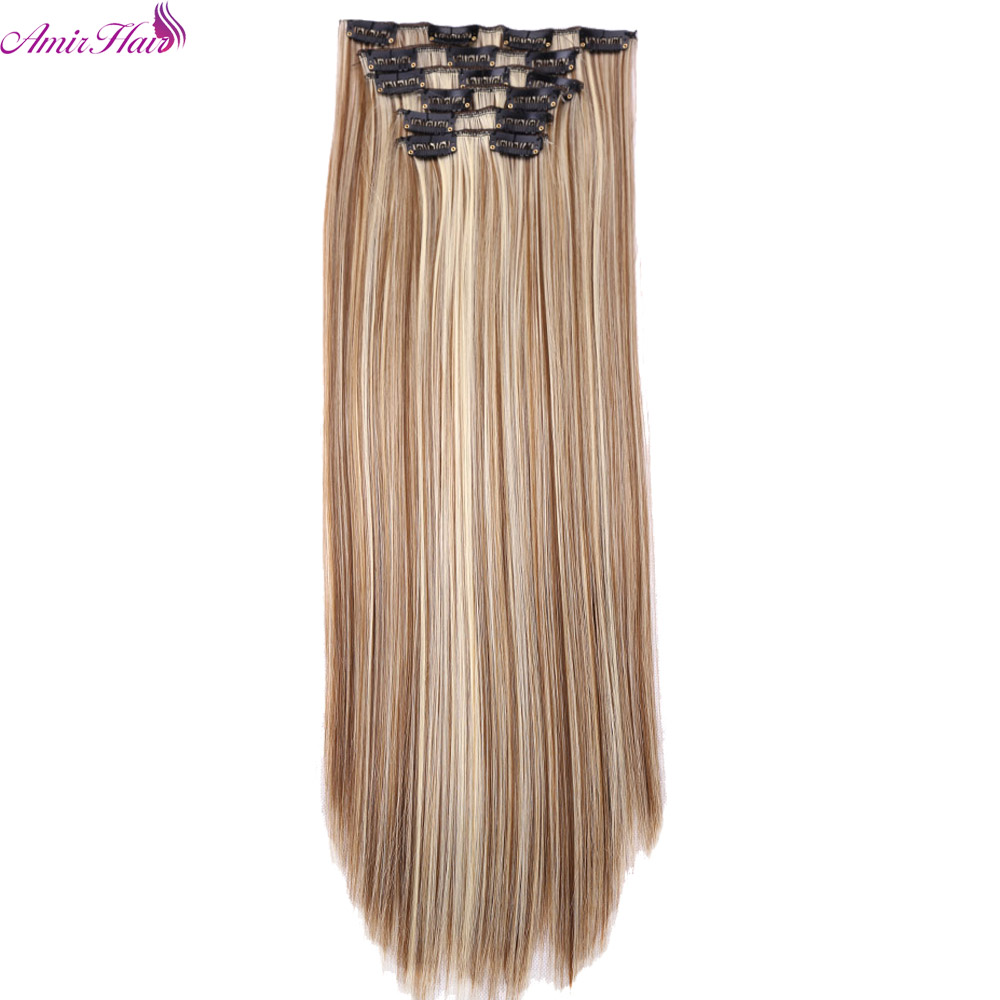 Amir Synthetic Hair 22inch 140g <font><b>16</b></font> Clips 6pcs/set Clips In Hair Extensions Long Straight Heat Resistant Hair Extensions image