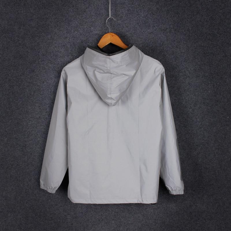 Plus Size 4XL Men Spring Autumn full reflective Windbreaker waterproof Jacket male High street hip hop Loose Hooded Coats 5