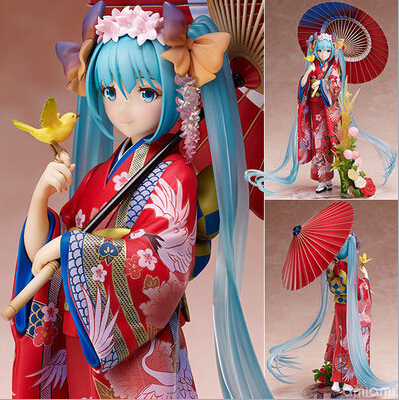 NEW hot 23cm Hatsune Miku kimono Action figure toys doll collection Christmas gift with box stronger vocaloid hatsune miku anime figure 23cm pvc action figure 1 7 scale kimono miku model doll collection toys
