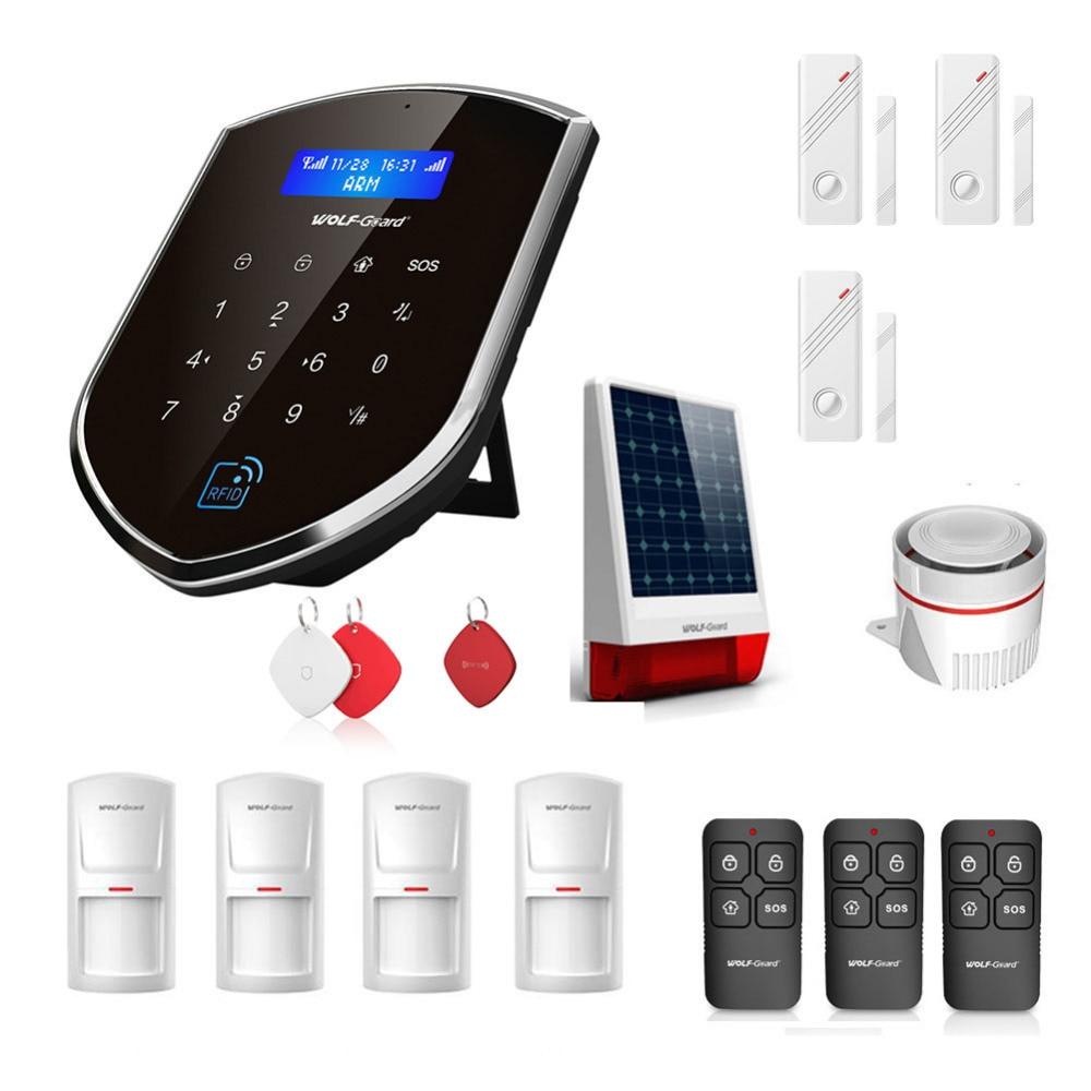 Système d'alarme sans fil pour la maison Wolf-Guard système antivol de sécurité 3G Wifi Sheild hôte sirène solaire porte/PIR détecteur de mouvement RFID