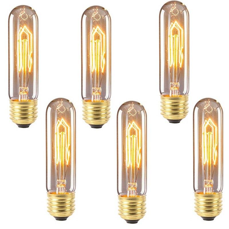 6 pcs t10 e27 e14 40 w edison lampada do vintage pode ser escurecido lampada incandescente