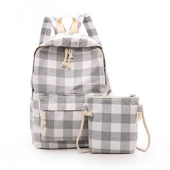 Dropshipping 2018 College Lattice Backpack Korean Style Backpack Girls Shoulder Bag High Quality Nylon Backpack For Teens