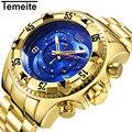 Топ Роскошные золотые часы мужские большие часы золотые из нержавеющей стали военные наручные часы большие циферблатные часы мужские арме...