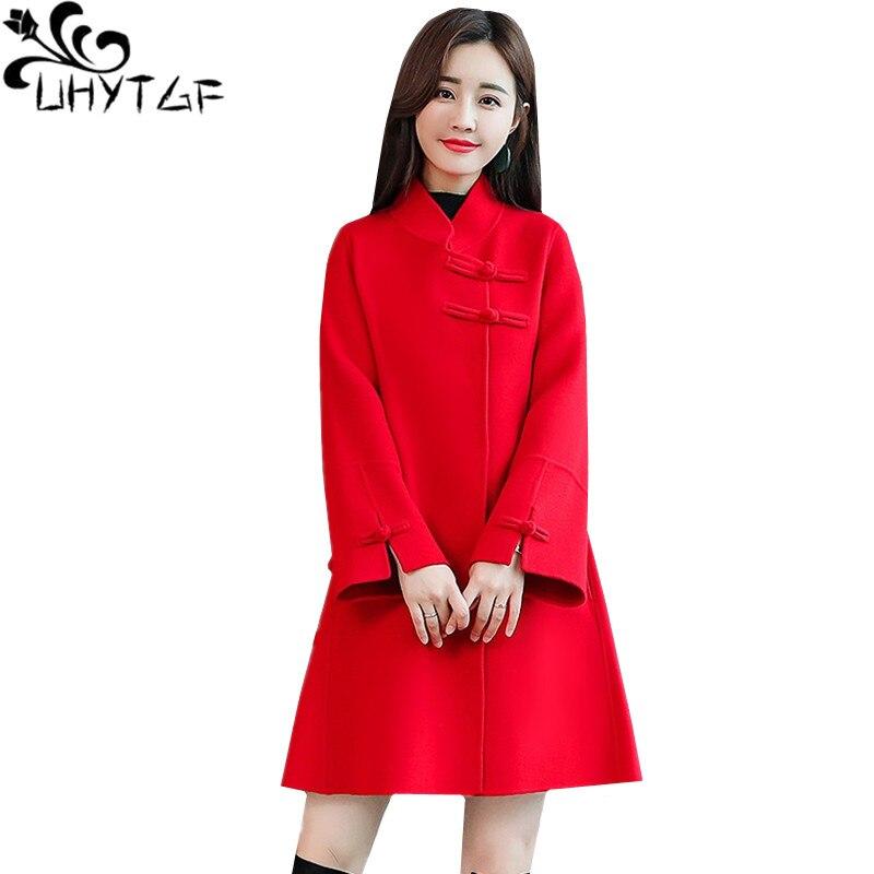 42b422b04 UHYTGF nuevo abrigo de lana para mujer invierno cortavientos ropa de abrigo  de moda manga de campana ...