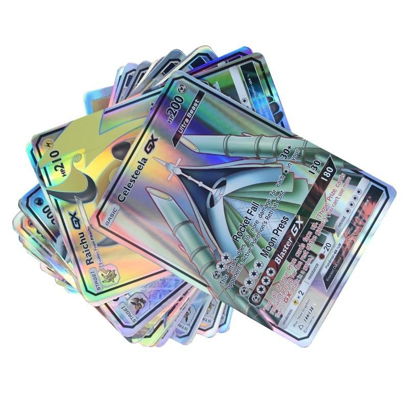300 шт GX 20 60 100 шт Мега Сияющие карты игра битва карт торговые карты игра детская игрушка «Покемон»