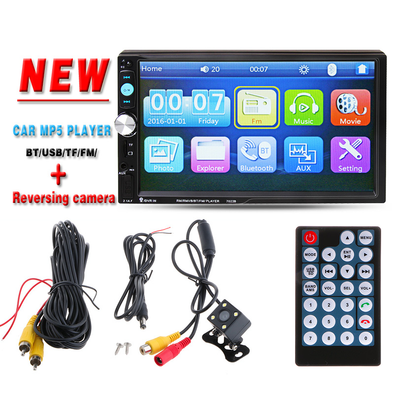 7 Car Video Radio Player HD Rear View Camera Bluetooth Stereo FM MP3 MP5 DVD Audio USB Auto Electronics autoradio charger 2 DIN
