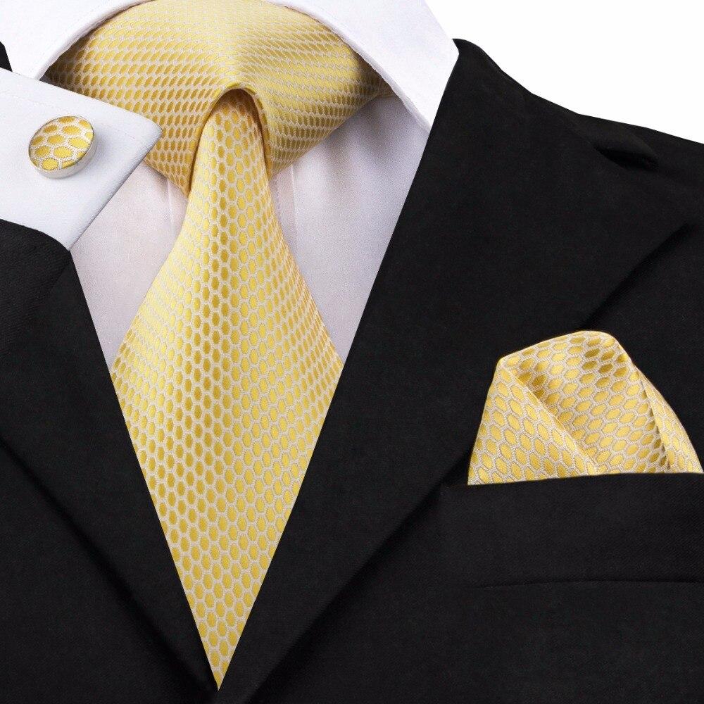 SN-1540 Hohe Qualität Royal Gelb Geometrische Krawatten für Männer 100% Seide Gold Krawatte Luxus Jacquard Woven Gravata Dropship Männlichen Krawatten