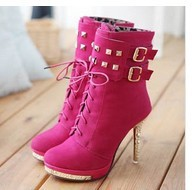 Free Shipping 2012 fashion sexy leather ladies high heel platform ankle boots, winter pink boots and women shoes #Y10035