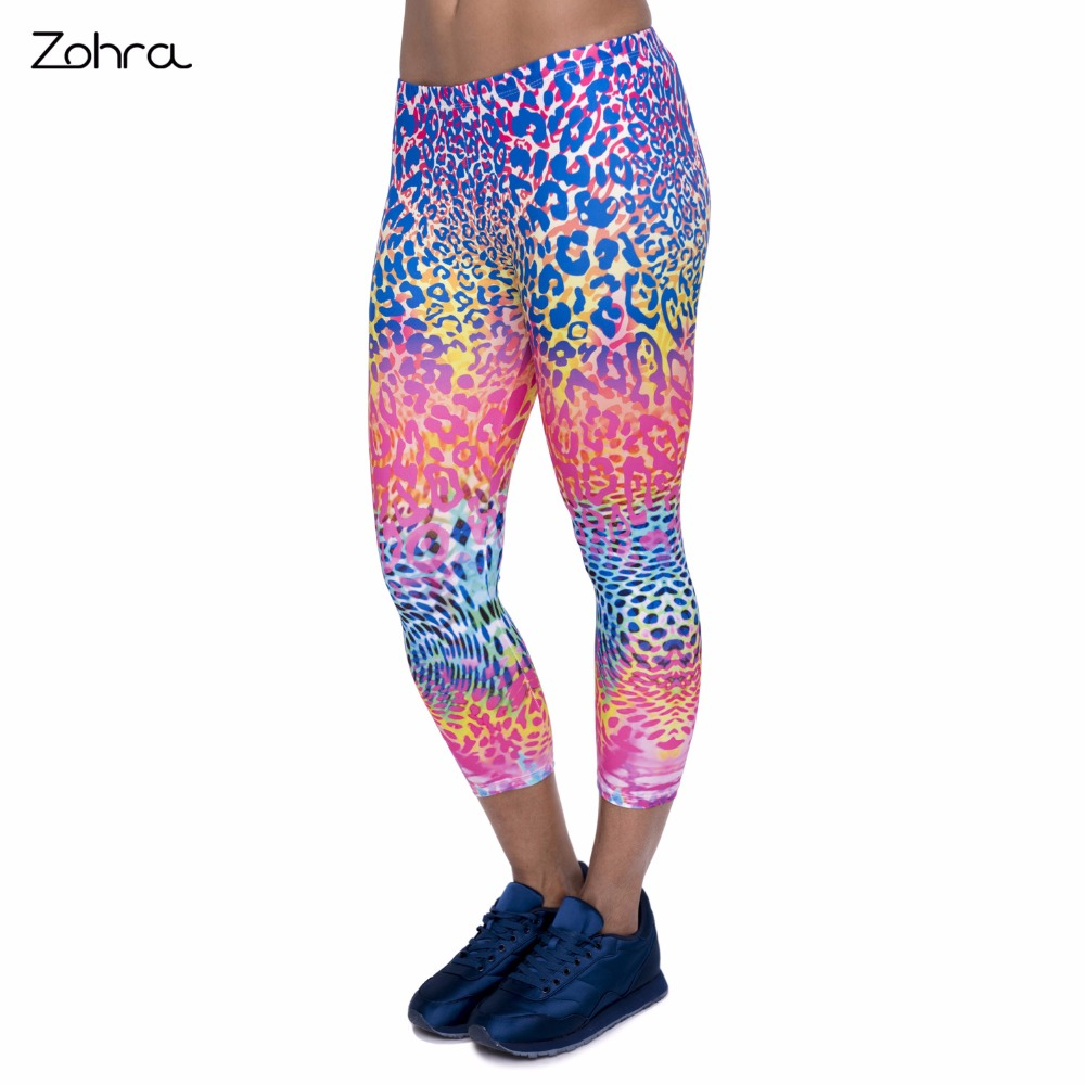 Zohra Summer New Design Women Capri   Leggings   Colored Leopard Printing Sexy Mid Leg 3/4 Fitness Movement Leggins Woman Capri Pant