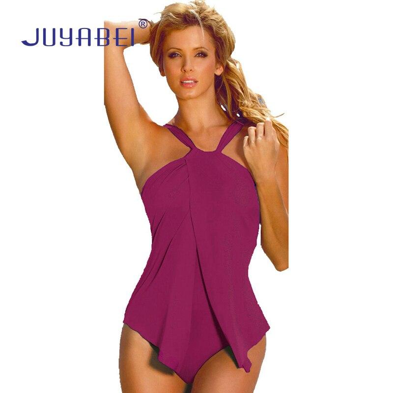 JUYABEI Women Halter Neck Bandeau One-piece Swimwear Bathing Suit Beachwear Plus Size Pleated Solid Swimsuit Mujer Traje de bano