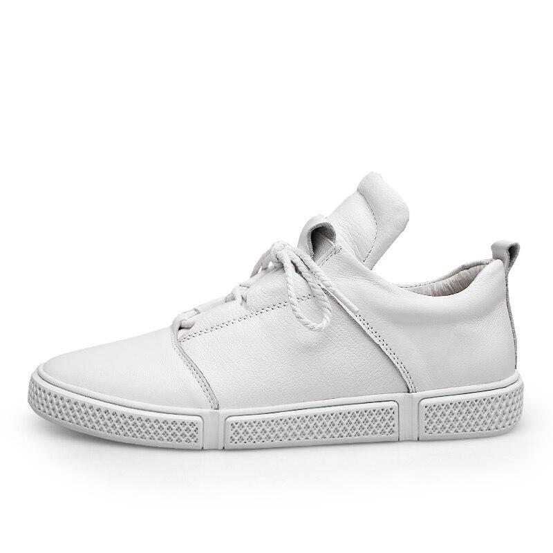 CLAX الرجال أحذية من الجلد جلد طبيعي الربيع الخريف حذاء كاجوال الذكور رياضية الأبيض الأزياء المشي الأحذية chaussure أوم-في أحذية رجالية غير رسمية من أحذية على  مجموعة 3