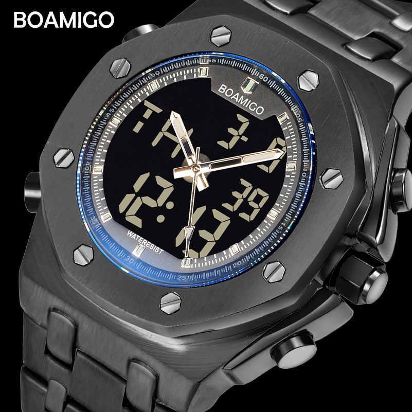 Mężczyźni zegarki sportowe moda kwarcowe zegarki dla mężczyzn BOAMIGO TOP marka ze stali nierdzewnej na rękę wodoodporny zegar Reloj Hombre