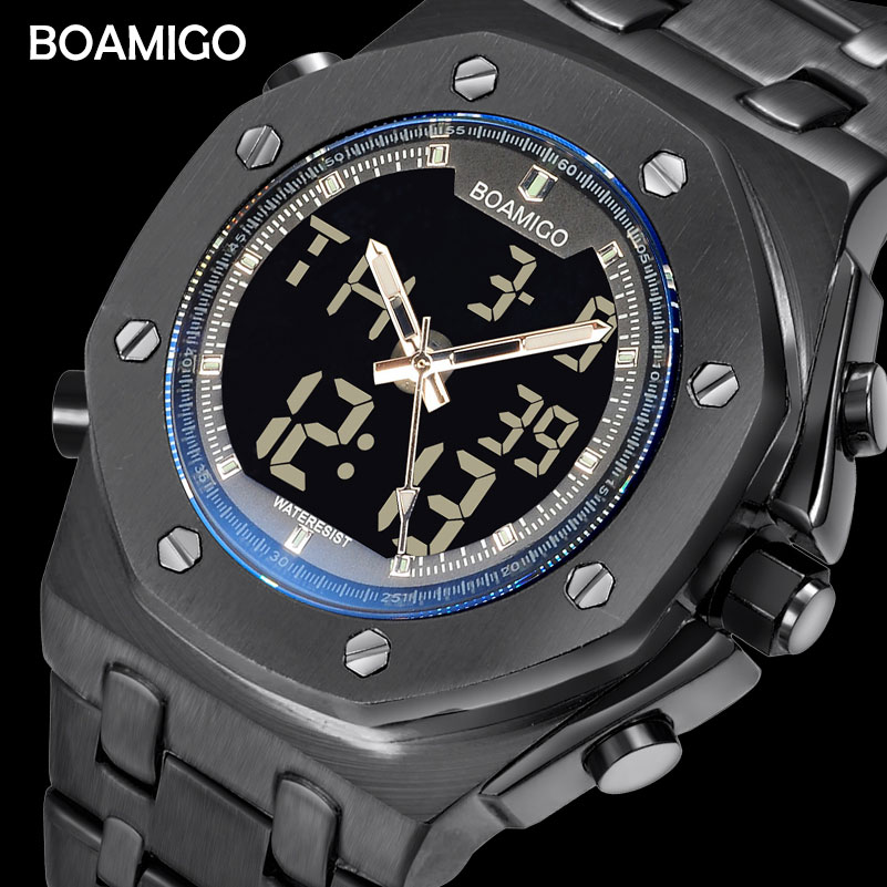 Men Sports Watches Fashion Quartz Watches For Men BOAMIGO TOP Brand Stainless Steel Wristwatches Waterproof Clock Reloj Hombre|Quartz Watches| |  - title=