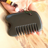 5A grade brown color Si Bin Bian stone massage guasha kit multifuntion beauty face comb about 82x60x7mm gife bag chart