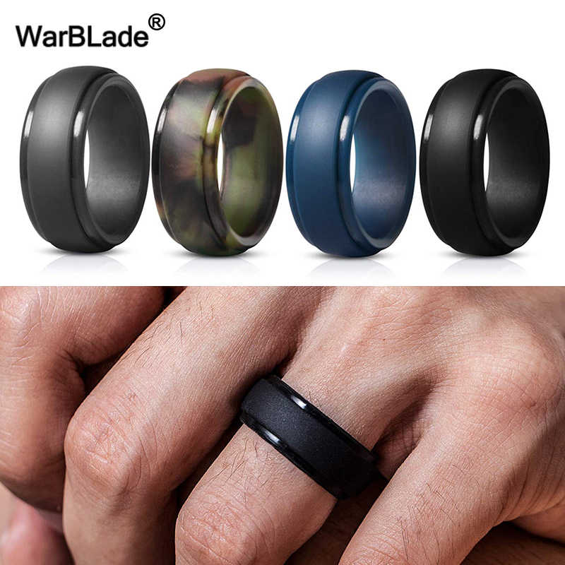 WarBLade New 4pcs/set Food Grade FDA Silicone Finger Ring Hypoallergenic Flexible Silicone Rings For Men Wedding Rubber Bands