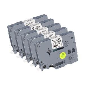 Image 1 - 5PCS 12mm Black on White TZe 231 TZ2 231 Label Tapes Compatible for Brother p touch PT200 1000 D210 H110 E110 Label Printer PUTY