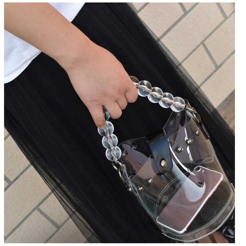 NEW Clear ลูกปัดสายคล้องโปร่งใสกระเป๋าถืออุปกรณ์เสริมกระเป๋าเข็มขัด cute ลูกปัด chain tote ผู้หญิงอะไหล่เงิน/ทอง/ สีดำ clasp