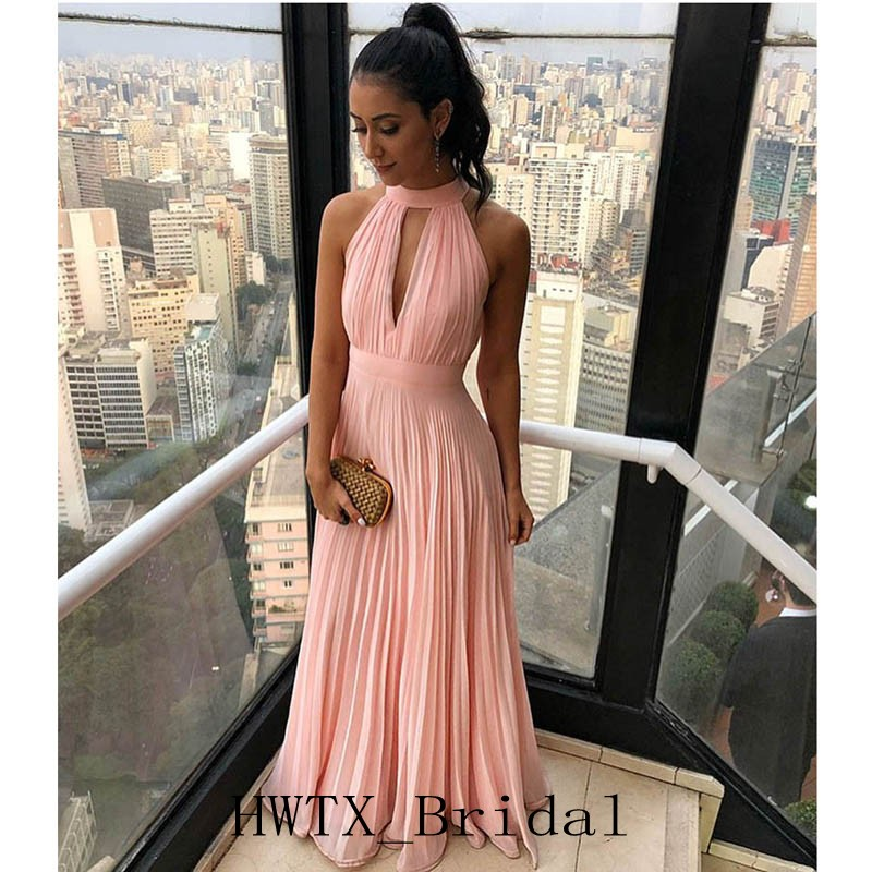Pink Chiffon Cheap   Bridesmaid     Dresses   High Keyhole Neck Sexy Backless Ruched A Line 2019 Plus Women Long   Dress   For Wedding Party