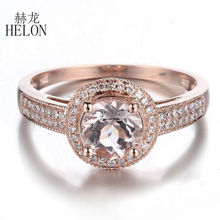 HELON Solid 14K Rose Gold Women's Jewelry Fine Ring Round Shape 6.5MM Morganite Natural DIAMONDS Halo ENGAGEMENT WEDDING RING