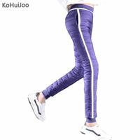 KoHuiJoo S 4xl Winter White Duck Down Pants Women Slim Patchwork Thick Warm Snow Pants Plus