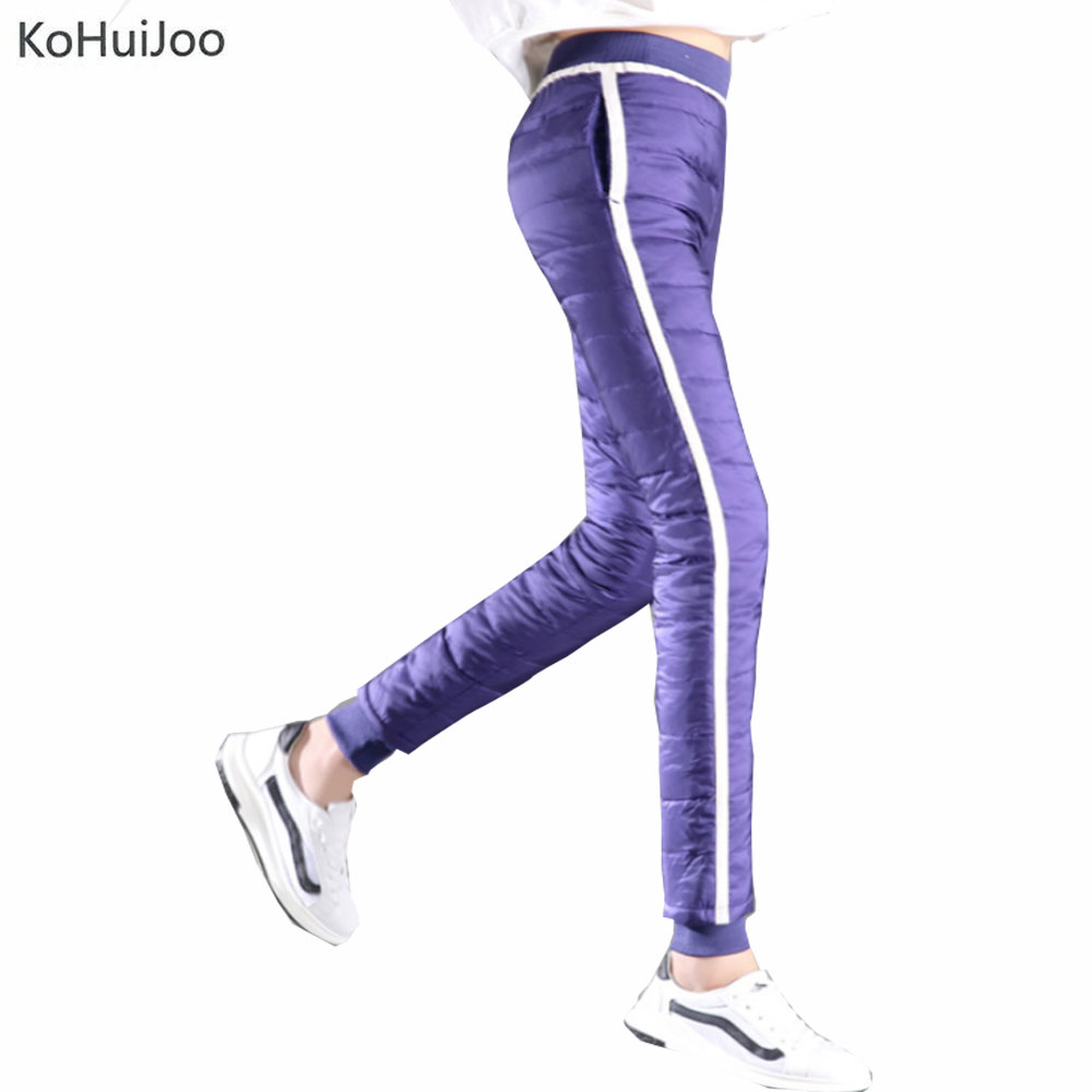 Us 29 31 21 Off Kohuijoo S 4xl Winter White Duck Down Pants Women Slim Patchwork Thick Warm Snow Pants Plus Size Female Trousers Skinny In Pants