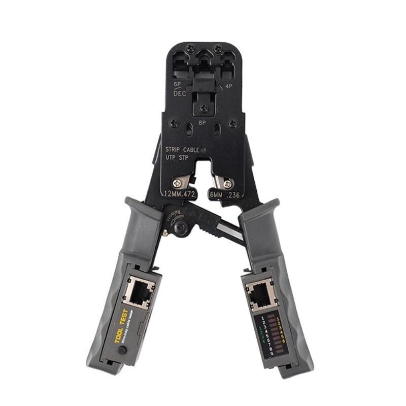 Red multifuncional herramientas para prensar RJ45 prueba herramienta de engaste con Ratchet Cat6 RJ12 RJ45 RJ50 RJ11 alta calidad