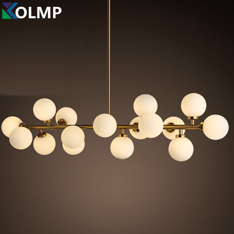 Creative gold dinning room chandelier modern glass hanging lamp light fixture - Grosse suspension luminaire ...