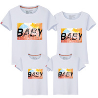 2017 New Pattern Parenting Dress Summer Wear Family Dress Short Sleeve T Pity Mother Daughter Lovers