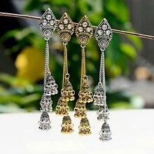 TopHanqi, золото, серебро, бохо, этнические Большие колокольчики, индийская джумка, длинные висячие серьги с кисточками для женщин, для девочек, Букле д 'Орель, femme
