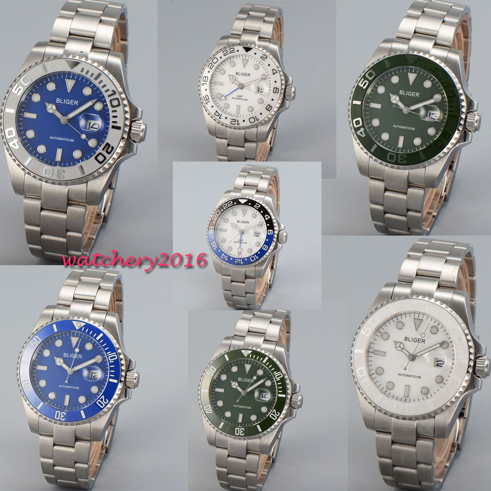 Здесь продается  43mm Bliger Black Blue White Green Dial Sapphire Glass Date Luminous Hands GMT Luxury Brand Automatic Movement Men