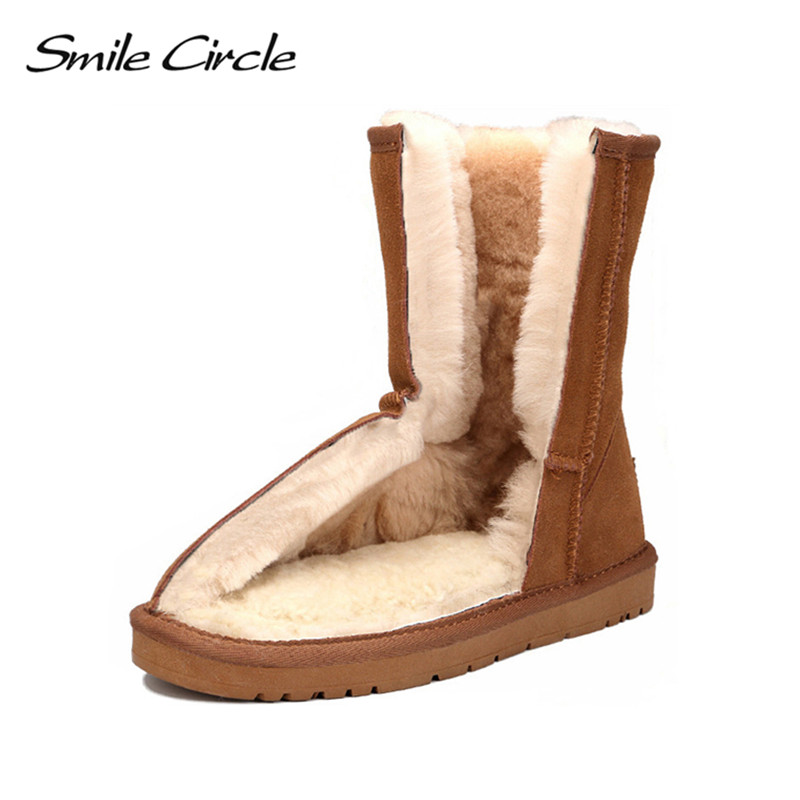 Smile Circle 100% Australian wool Winter Snow Boots Women Cow Suede Leather Boots Fur Warm waterproof Ladies Shoes 2018 ошеверова л ред 50 уход за лицом идеальный возраст isbn 9785699549283