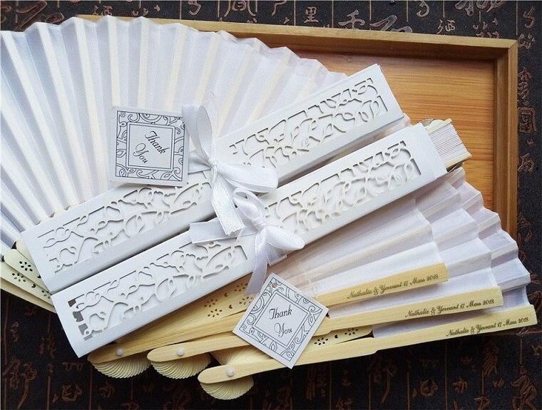 30 pcs lot Personalized Luxurious Silk Fold hand Fan in Elegant Laser Cut Gift Box Party