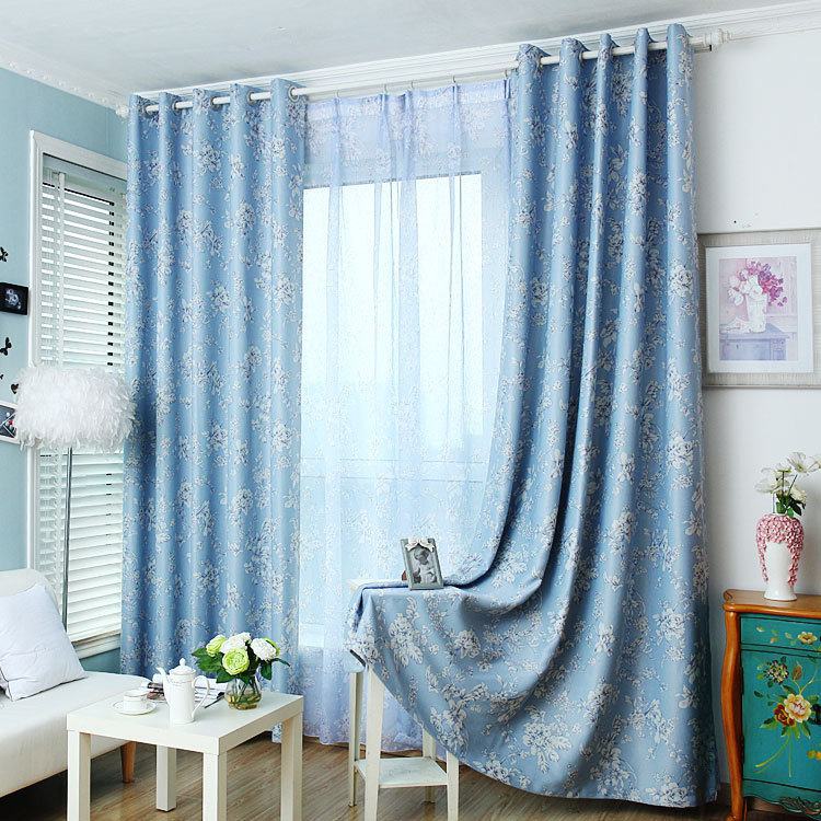 Korean Pastoral Style Fresh Blue Floral Printed Curtain Polyester Blockout  Cloth Curtain For Living Room Bedroom