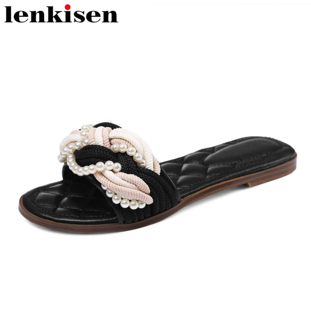 Lenkisen mules véritable slip en cuir sur les perles perles extérieur pantoufle beauté jeune dame peep toe femmes casual grande taille chaussures L01