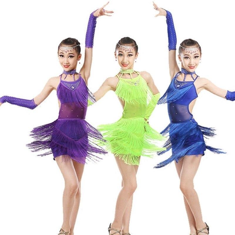 tassel latin dance dress for girls salsa spandex rumba tango children ballroom dresses for kids samba competition 2018 fringe