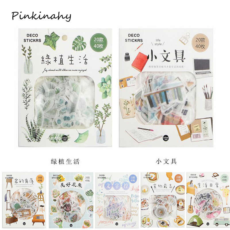 40 pcs Kawaii Plants Life Label Stickers Decorative Stationery Stickers Scrapbooking DIY Diary Album Stick Label School Supplies