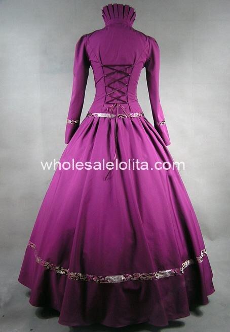 Фиолетовая Готическая викторианская парчовая одежда бальное платье