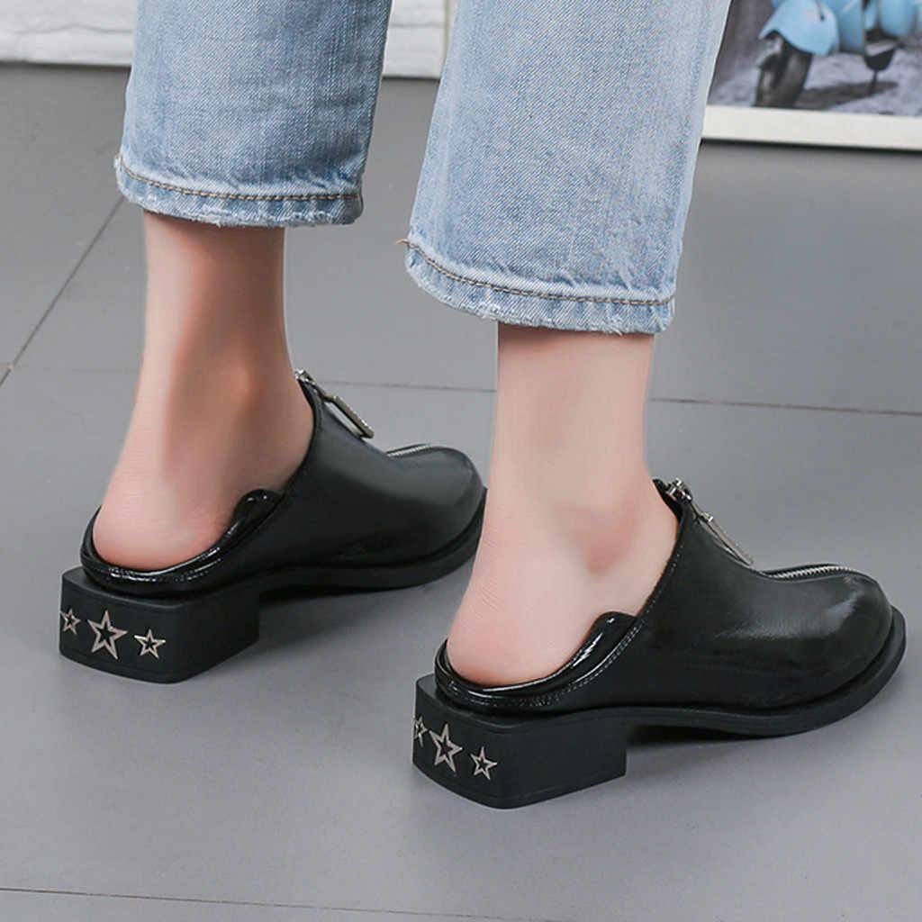 สีดำสตรีรองเท้าบูทแพลตฟอร์มบูทเหนือเข่าผู้หญิงแฟชั่นสีทึบรอบ Toe Zipper ส้นรองเท้าข้อเท้า # ZF