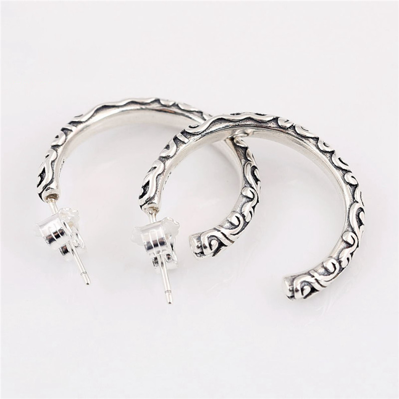 Trendy 100 925 Sterling Silver Branded Earring For Women Regal Beauty Hoop Earrings Fine Europe Jewelry Birthday Party Gift in Hoop Earrings from Jewelry Accessories