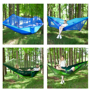 Image 5 - Pop Up Camping Hammock With Mosquito Net Portable Quick Set Up Hanging Sleeping Bed 250x120cm Outdoor Hamak Hamac 98*47