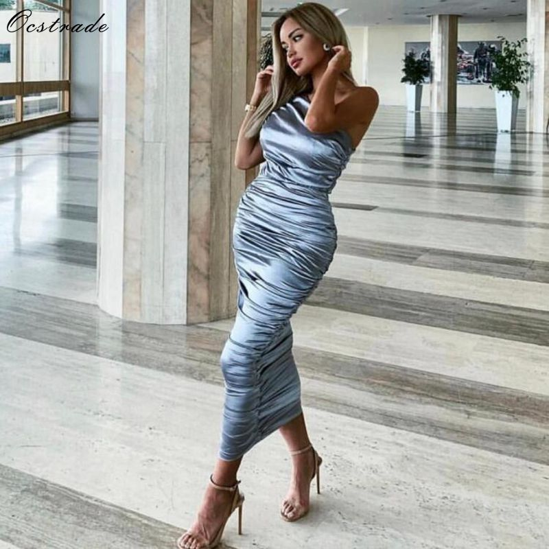 Ocstrade Sexy Bodycon Dress 2019 New Summer Draped One Shoulder Bodycon Dress Silver Women Party Evening