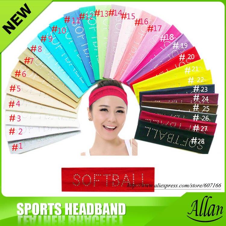 2 inch Rhinestone SOFTBALL Cotton Stretch Sports Headbands Softball Crystal Bling Elastic Hairband Sweat Hair Accessories