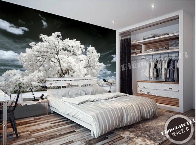 US $15.08 48% OFF|Benutzerdefinierte 3D wandbilder, schöne weiße blumen und  pflanzen bäume, Wohnzimmer sofa TV wand schlafzimmer hintergrund wand ...