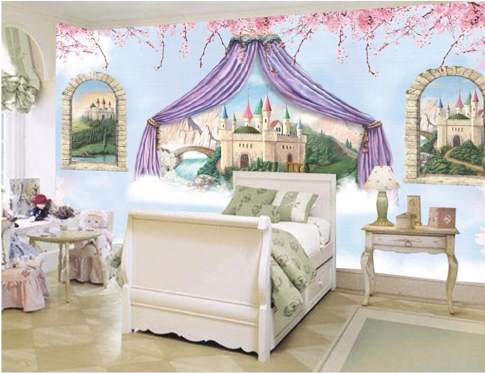 Custom photo mural 3d wallpaper Fantasy castles children room Setting wall decor painting 3d wall murals wallpaper for walls 3 d custom photo 3d wall murals wallpaper mountain waterfalls water decor painting picture wallpapers for walls 3 d living room