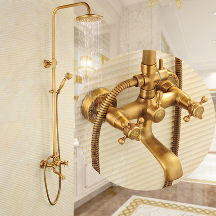 Bathroom Retro Shower Set Faucet + Tub Mixer Tap + Handheld Shower + Tub Spout Antique Brass Mixer Tap Dual Handles Wall Mounted