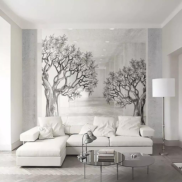 Decorative Wallpaper E Black And White Sketch Line Tree Tv Background Wall