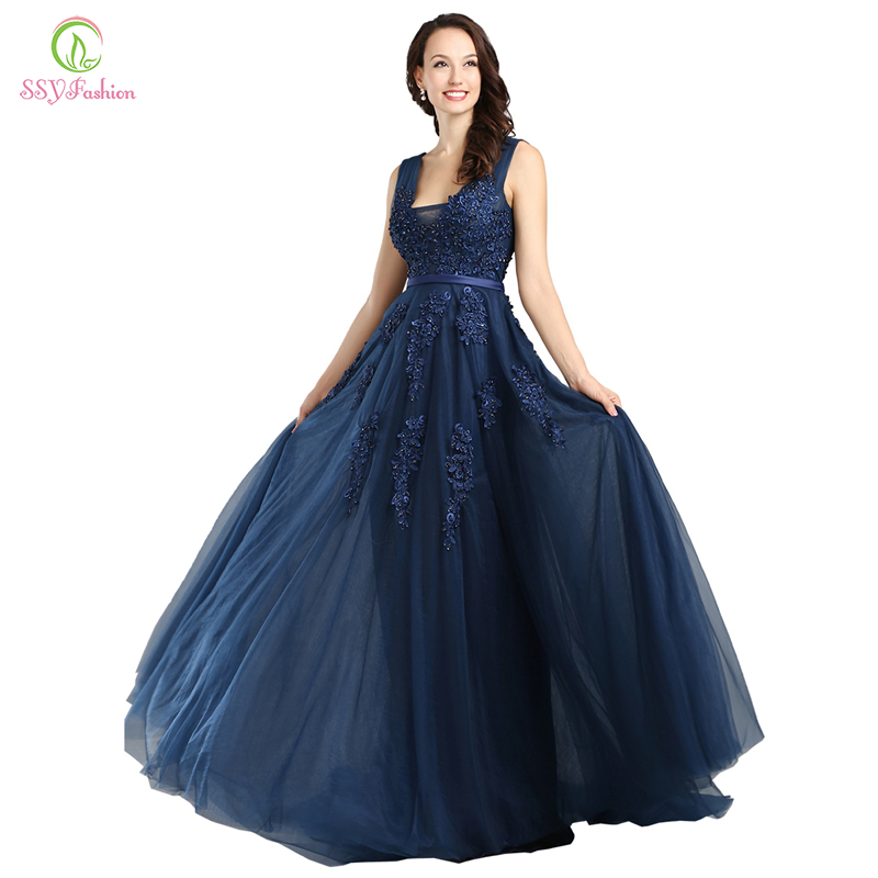 SSYFashion Lace Appliques V-neck Long Evening Dress The Bride Sexy Sleeveless Lace-up Back Beading Party Formal Dresses Custom